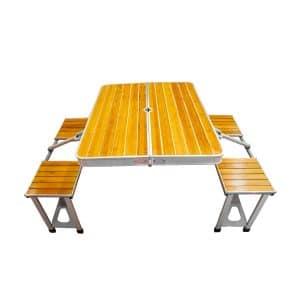 میز و صندلی سفری چهار نفره چوب آلومینیوم
