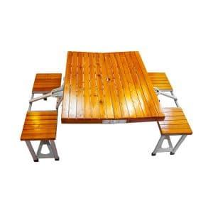 میز و صندلی سفری چهار نفره تمام چوب